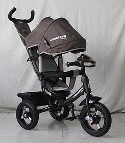 Велосипед детский трехколесный с родительской ручкой и надувными колесами Azimut Crosser One T1 Air Коричневый