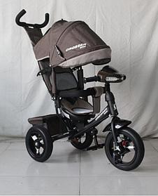 Велосипед детский трехколесный с родительской ручкой и надувными колесами Azimut Crosser One T1 Air Коричнево-бежевый