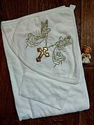 Крыжма для крещения с капюшоном - полотенце-уголок с салфеткой для крещения с вышивкой 80*90 см (Турция)