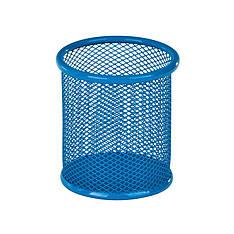 Подставка для ручек, круглая 80х80х100мм, мет, голубая
