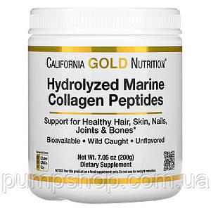 Пептиди морського колагену California Gold Nutrition Hydrolyzed Marine Collagen Peptides 200 г