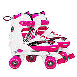 Роликовые коньки (квады) SportVida SV-LG0055 Size 35-38 White/Pink, фото 3