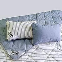 """Комплект для сну Fagus """"Standart"""", Євро (220х200), з вовни мериносів, Синій/Білий у синю смужку"""