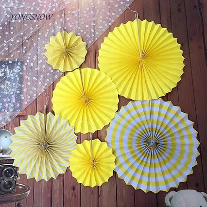 Набір жовтих підвісних віял із щільного паперу 6 шт