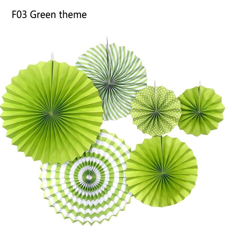 Набір підвісних декоративних віял зелений із щільного паперу 6 шт