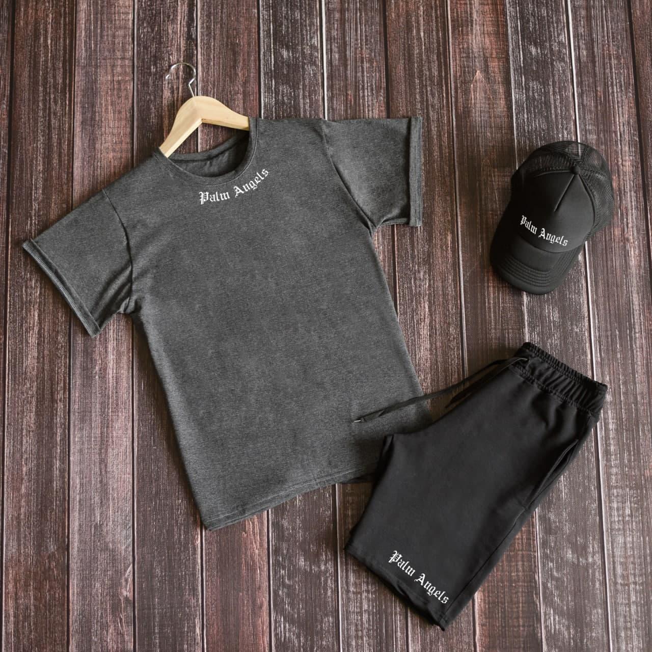 Мужской летний комплект футболка шорты, летний мужской спортивный костюм Palm Angels