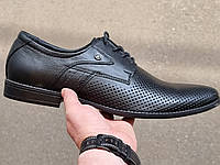 Мужские летние черные кожаные туфли на шнурке TM Karat!!!