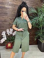 Женское летнее платье рубашка оливкового цвета длина миди повседневное РАЗМЕРЫ 48, 50, 52, 54 из льна
