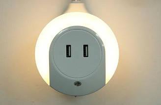 Світлодіодний світильник з датчиком руху, 2 USB порту (md8028)