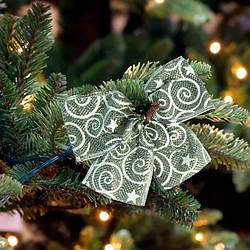 Бант різдвяний срібний з візерунком 9245