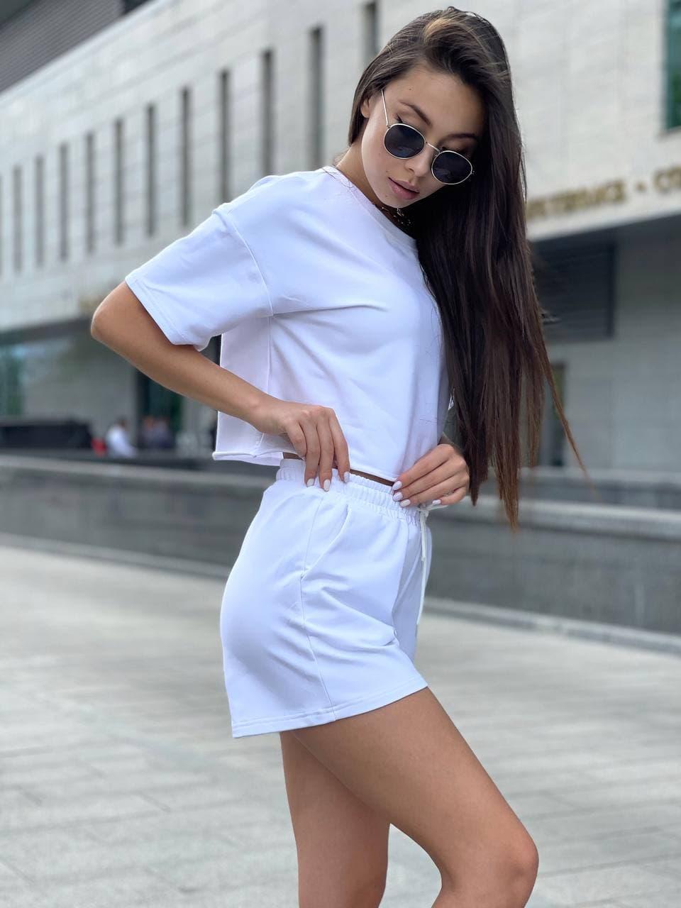 Жіночий літній костюм з короткими шортами і вільної укороченою футболкою (р. S,M,L) 55101876
