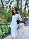 Сатинове біле плаття на запах з розрізом на нозі в довжині міді (р. S, M) 71032597, фото 2