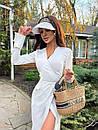 Сатинове біле плаття на запах з розрізом на нозі в довжині міді (р. S, M) 71032597, фото 3