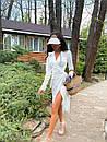 Сатинове біле плаття на запах з розрізом на нозі в довжині міді (р. S, M) 71032597, фото 4