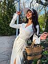 Сатинове біле плаття на запах з розрізом на нозі в довжині міді (р. S, M) 71032597, фото 5