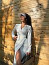 Сатинове біле плаття на запах з розрізом на нозі в довжині міді (р. S, M) 71032597, фото 6