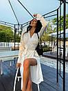 Сатинове біле плаття на запах з розрізом на нозі в довжині міді (р. S, M) 71032597, фото 7