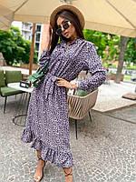 Легкое платье в леопардовый принт с поясом и оборками на юбке летнее (р. 42-46) 73py2602