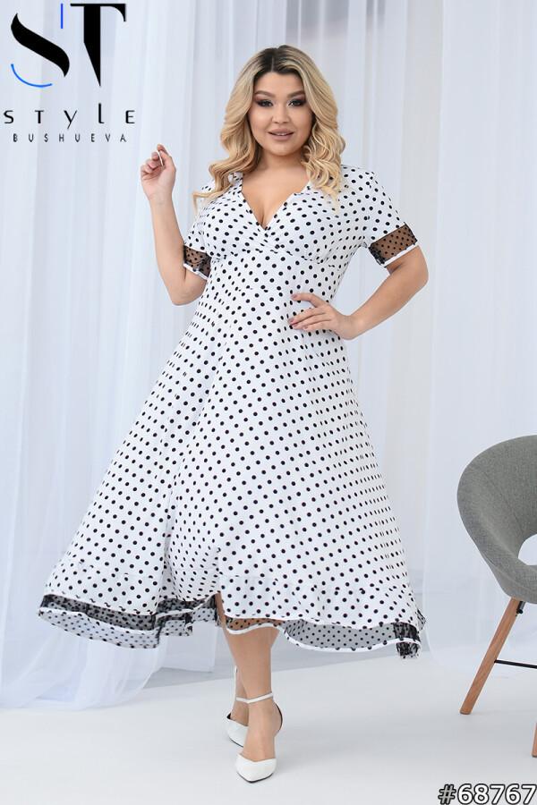 Романтичное платье миди в горошек, Белый, Супер софт р. 48-50,52-54,56-58,60-62