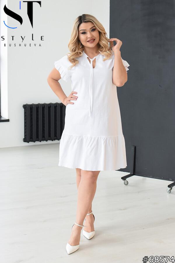 Летнее платье трапеция с воланами, Белый, Лён|р. 42-46,48-52,54-58