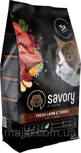 Сухой корм для кошек с чувствительным пищеварением Savory со свежим мясом ягненка и индейки 400 г