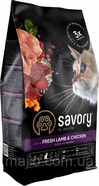 Сухой корм для кастрированных котов Savory со свежим мясом ягненка и курицы 400 г (4820232630105)
