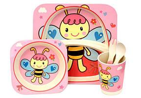 Набір дитячого бамбукового посуду ООПТ Бджілка Рожева 5 предметів