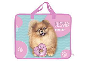 Папка-портфель А4 пластикова з текстильними ручками KIDIS What's up puppy
