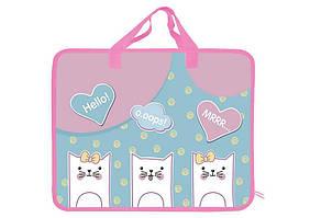 Папка-портфель А4 пластикова з текстильними ручками KIDIS Kittens