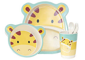 Набір дитячого бамбукового посуду ООПТ Тигреня 5 предметів: 2 тарілки, стаканчик, ложка, виделка