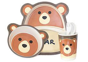 Набір дитячого бамбукового посуду ООПТ Ведмедик 5 предметів: 2 тарілки, стаканчик, ложка, виделка