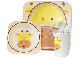 Набір дитячого бамбукового посуду ООПТ Жираф 5 предметів: 2 тарілки, стаканчик, ложка, виделка