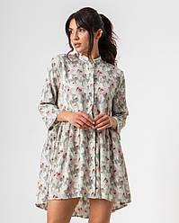 Яскраве літнє коротке плаття зі стійкою на гудзиках вільного крою в 3 кольорах в розмірі S, M,L.