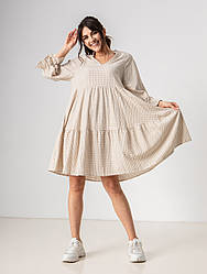 Літнє плаття в клітку з V-вирізом вільного крою завдовжки по коліно в 3 кольорах в розмірі S, M, L.