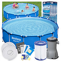Бассейн каркасный садовый Bestway 366см х 76 см насосом и фильтром для воды