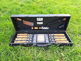 """Набір з 8 шампурів для м'яса і люля-кебаб """"Master"""" (730х15х3 мм)+комплект аксесуарів в дерев'яному кейсі"""