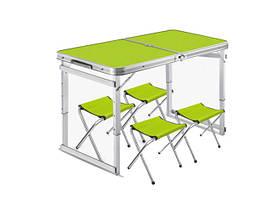 Усиленный раскладной стол + 4 стула для пикника и туризма Зеленый