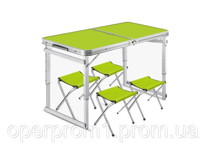 Посилений розкладний стіл+4 стільці для пікніка та туризму Зелений