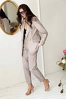 Женский льняной костюм брюки и пиджак