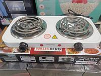 Плитка електрична 2 конфорки спіральна Walesberg WB-5004