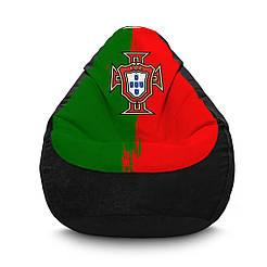 """Кресло мешок PufOn, """"Сборная Португалии"""" черный Флок ХХL"""