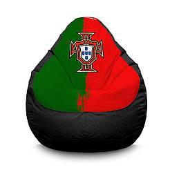 """Кресло мешок PufOn, """"Сборная Португалии"""" черный Оксфорд  L"""