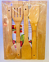 Доска бамбуковая с приборами 5 в 1, 33 х 24 см толщ. 15 мм