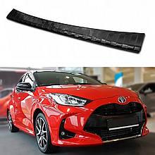 Защитная накладка на задний бампер для Toyota Yaris 2020+ /черная нерж.сталь/