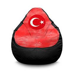 """Кресло мешок PufOn, """"Сборная Турции"""" черный Оксфорд  L"""
