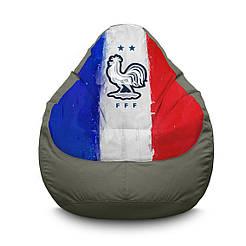 """Кресло мешок PufOn, """"Сборная Франции"""" серый Оксфорд  L"""