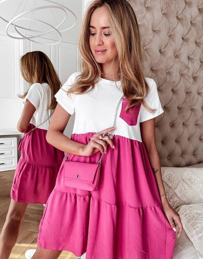Стильное бело-розовое женское платье c кармашком White-Pink