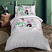 Подростковое постельное белье Tivolyo Home Panda делюкссатин полуторный