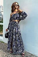 ✔️ Модный летний женский костюм топ и длинная юбка 42-48 размеры разные расцветки
