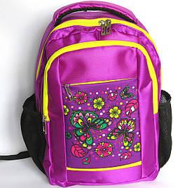 Школьный рюкзак для девочки размер S, фиолетовый, бабочки